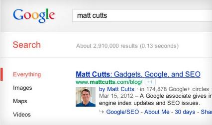 Exemple Authorship ( Copyright Google )