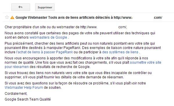 Message Google sanction manuelle liens factices