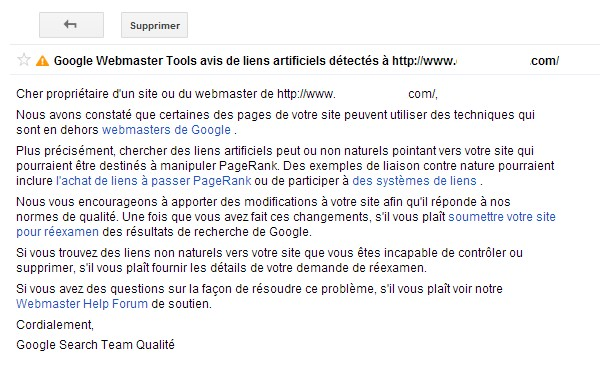 Message Google sanction manuelle liens factices